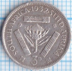 Coin > 3pence, 1932-1936 - South Africa  - reverse