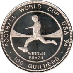 Moneda > 100florines, 1994 - Surinam  (Copa Mundial de la FIFA de 1994/ Brasil ganador/) - reverse
