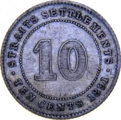 Moneta > 10centesimi, 1871-1901 - Insediamenti dello Stretto  - reverse