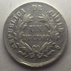 Moneta > 1decimo, 1867-1880 - Cile  - reverse