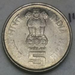 Moneta > 5rupii, 2004 - Indie  (100 rocznica urodzin - Lal Bahadur Shastri /niemagnetyczna/) - obverse