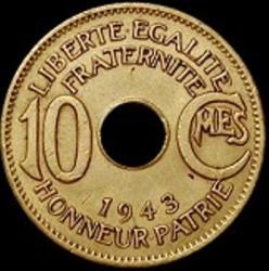 Moneda > 10céntimos, 1943 - África Ecuatorial Francesa  - reverse