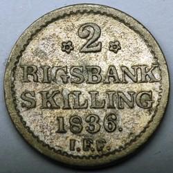 Кованица > 2ригсбанкскилинга, 1836 - Данска  - obverse