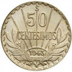 Moeda > 50centésimos, 1943 - Uruguai  - reverse