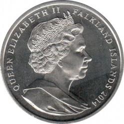 Moneda > 1corona, 2014 - Islas Malvinas  (100th Anniversary - World War I /Royal Chelsea Hospital/) - obverse