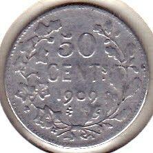 "Moneda > 50centimes, 1907-1909 - Bèlgica  (Llegenda en francès -  ""DES BELGES"") - reverse"