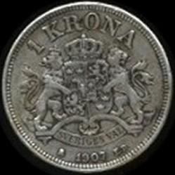 Münze > 1Krone, 1906-1907 - Schweden   - reverse