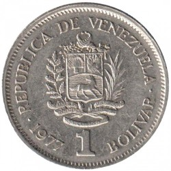 Moneta > 1bolivaras, 1977-1986 - Venesuela  - obverse