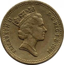 Монета > 1фунт, 1986-1991 - Велика Британія  - obverse