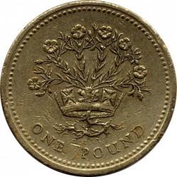 Монета > 1фунт, 1986-1991 - Велика Британія  - reverse