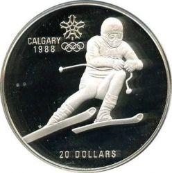 Монета > 20долларов, 1985 - Канада  (XV зимние Олимпийские Игры, Калгари 1988 - Горные лыжи) - reverse