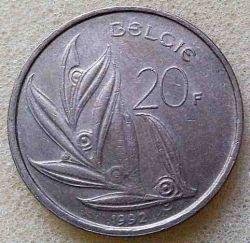 """Minca > 20francs, 1992 - Belgicko  (Nadpis v holandčine - """"BELGIE"""") - obverse"""