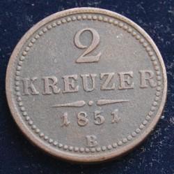 Mynt > 2kreuzer, 1851 - Østerrike  - reverse