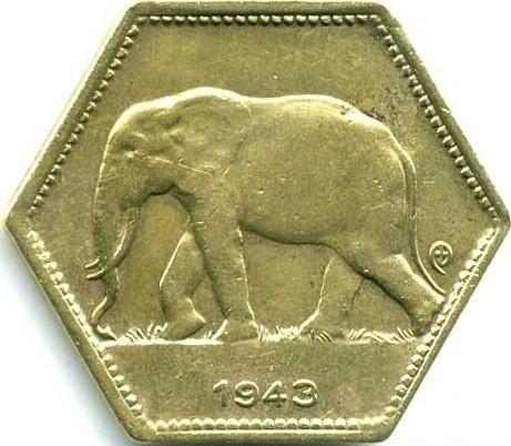 2 Franken 1943 Belgisch Kongo Münzen Wert Ucoinnet