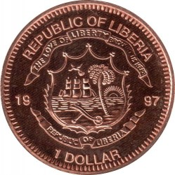 Coin > 1dollar, 1997 - Liberia  (Species Survival Plan - Panda) - obverse
