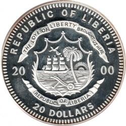 Монета > 20долларов, 2000 - Либерия  (Европейские достопримечательности - Берлин) - obverse