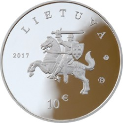 Coin > 10 euro, 2017 - Lithuania  (Lithuanian Hound and Samogitian Horse) - reverse