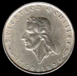 2 Reichsmark 1934 Friedrich Schiller Deutschland Drittes Reich