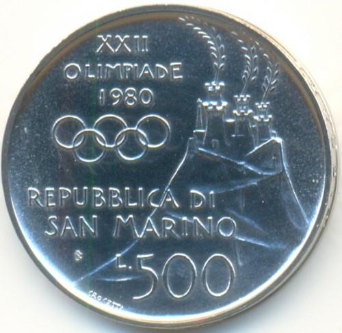 500 Lire 1980 Xxii Summer Olympic Games San Marino Münzen Wert