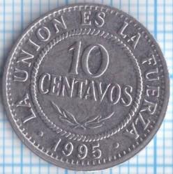 Coin > 10centavos, 1987-2006 - Bolivia  - reverse