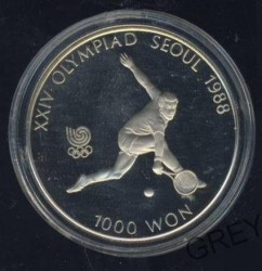 Moneda > 1000 won, 1987 - Corea del Sur  (XXIV summer Olympic Games, Seoul 1988 - Tennis) - obverse