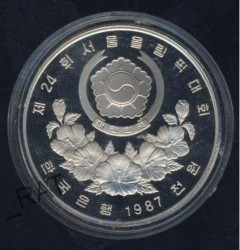 Moneda > 1000 won, 1987 - Corea del Sur  (XXIV summer Olympic Games, Seoul 1988 - Tennis) - reverse