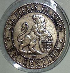 Minca > 1centimo, 1870 - Španielsko  - reverse