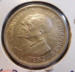 """Монета > 1песо, 1936 - Филиппины  (Создание Содружества /надпись """"nov 15 1935"""" справа от голов/) - obverse"""