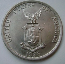 """Монета > 1песо, 1936 - Филиппины  (Создание Содружества /надпись """"nov 15 1935"""" над головами/) - reverse"""