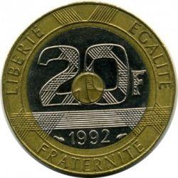 მონეტა > 20ფრანკი, 1992-2001 - საფრანგეთი  - reverse