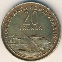 Moneta > 20franchi, 1952 - Somalia Francese  - obverse