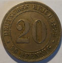 Кованица > 20фенинга, 1890-1892 - Немачка  - reverse