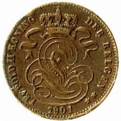 "Moneda > 1centime, 1882-1907 - Bèlgica  (Llegenda en holandès - ""DER BELGEN"") - obverse"