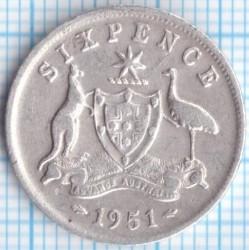 Монета > 6пенсов, 1950-1952 - Австралия  - reverse