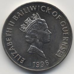 Монета > 5фунтів, 1996 - Гернсі  (70 років від народження королеви Єлизавети II) - obverse