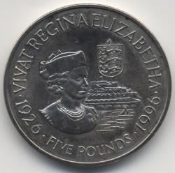 Монета > 5фунтів, 1996 - Гернсі  (70 років від народження королеви Єлизавети II) - reverse