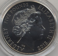 Monedă > 5 lire, 2015 - Alderney  (50th Anniversary - Death of Winston Churchill /Painting is a Companion/) - obverse