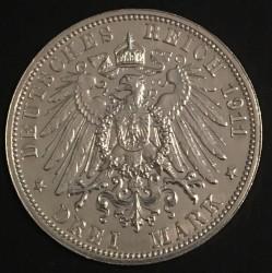 Moneda > 3marcos, 1911 - Alemán (Imperio)  (25º Aniversario - Boda de Buillermo II de Württemberg y Charlotte of Schaumburg-Lippe) - reverse
