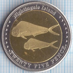 Moneta > 25pensów, 2011 - Tristan da Cunha  (Koryfena (Wyspa Nightingale)) - obverse
