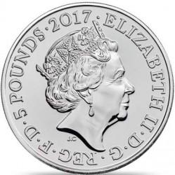Монета > 5фунтів, 2017-2018 - Велика Британія  (Звірі Королеви - Лев Англії) - obverse