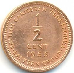 Pièce > ½cent, 1955-1958 - Caraïbe Orientale  - reverse