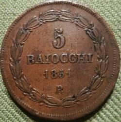 Moneta > 5baiocchi, 1850-1854 - Państwo Kościelne  - obverse