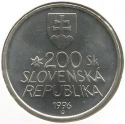 Moneta > 200corone, 1996 - Slovacchia  (100° anniversario - Ferrovia di montagna Štrba-Štrbské Pleso) - obverse