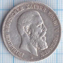 Moneda > 2marcos, 1888 - Alemán (Imperio)  (Federico III) - obverse