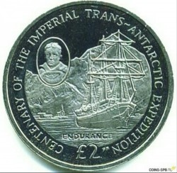 Кованица > 2 фунте, 2014 - Јужна Џорџија  (100th Anniversary - Imperial Trans-Antarctic Expedition) - reverse