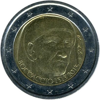 """Italy 2 euro coin 2013 /""""Giovanni Boccaccio/"""" UNC"""