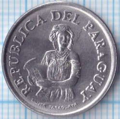 Coin > 5 guaranies, 1975 - Paraguay  - obverse