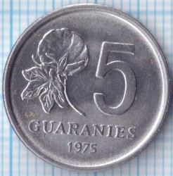 Coin > 5 guaranies, 1975 - Paraguay  - reverse