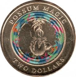 """Moneta > 2dolary, 2017 - Australia  (Ilustrowana książka dla dzieci """"Possum Magic"""" - Niewidzialny Hush) - reverse"""