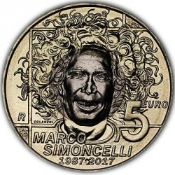Moneda > 5euros, 2017 - San Marino  (30 aniversario - Nacimiento de Marco Simoncelli) - obverse